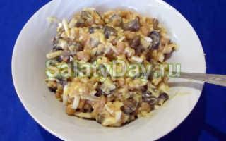 Салат с жареными шампиньонами, красной фасолью и морковью, простой пошаговый рецепт приготовления
