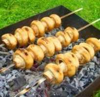 Шампиньоны на мангале: рецепт маринада, как жарить на углях, на гриле, сколько готовить