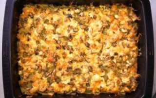 Картошка с мясом и грибами в духовке: рецепт на противне, запечённая с сыром и шампиньонами