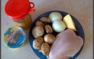 Куриная грудка с грибами в мультиварке, простой пошаговый рецепт с фото